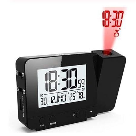 ZAHNG Despertador Proyector Pantalla LED Grande Termómetro ...