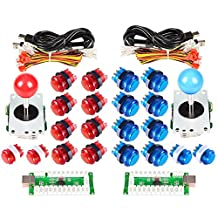 Arcade Joystick Buttons DIY Kit Parts USB Controller To PC 8 Ways Stick Control + LED Light Illuminated Push Buttons For Arcade Joystick Games Mame Multicade Colors Red + Blue