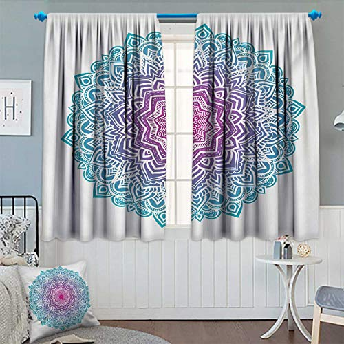 Chaneyhouse Mandala Patterned Drape for Glass Door Round Floral Starry Pattern with Soft Aqua Color Spiritual Meditation Theme Waterproof Window Curtain 55