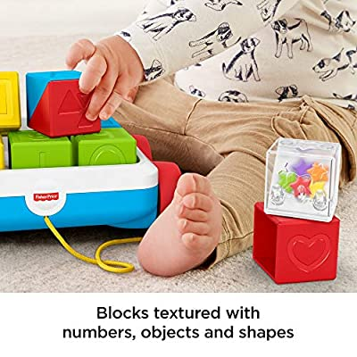 Fisher-Price Pull-Along Activity Blocks, Toy Wagon for Babies: Toys & Games