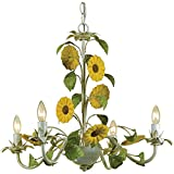 AF Lighting 7048-4H Kansas Sunflowers Chandelier For Sale