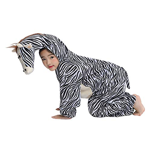 Child Zebra Costume Animal Cosplay Halloween Fancy Dress M -
