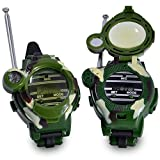 Walkie Talkies Watch for Kids Walky Talky Set Camo Outdoor Army Toys 150 Meters Long Range Two Way Radios Camouflage Watch for Children 7 in 1 (2 Pack)
