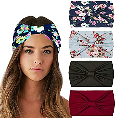 YOMXL Womens Boho Headbands Wide Bohemian Knotted Yoga Headband Head Wrap Hair Band Elastic Hair Band Accessories
