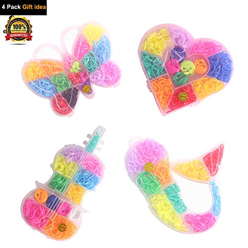4 Pack DIY Rainbow Loom Bands Elastic Hair Ties Rubber Hair Bands Set Butterfly Heart Mermaid Violin Shaped Storage for Baby Girls Kids Party Festival Gift Idea (4 Pack) ()