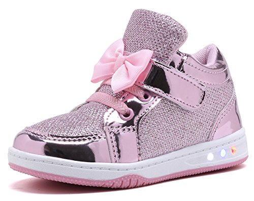 YILAN YL313 Toddler Glitter Shoes Girl's Flashing Sneakers With Cute Bowknot PNK-8 -