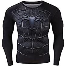 Red Plume Mens Compression Sports Shirt Black Spider Long Sleeve Tee