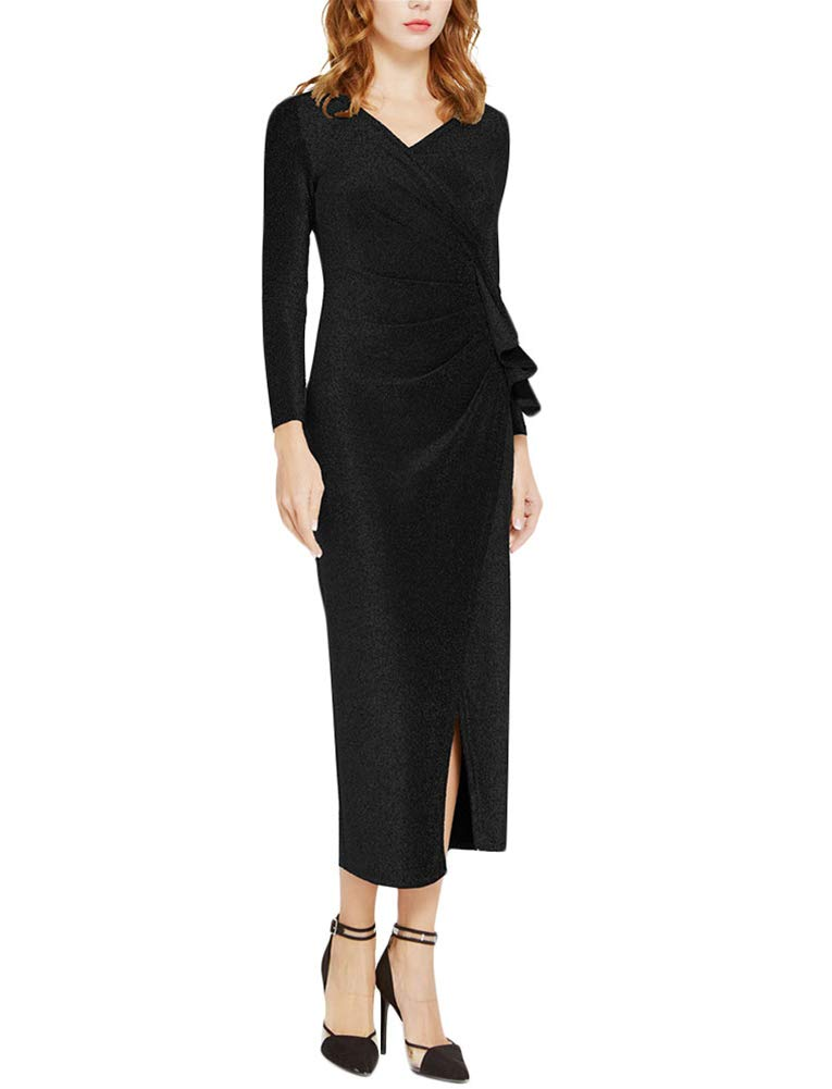 Aiyou Women's Long Sleeve Wrap Dresses - Sexy Glitter Ruched V Neck High Slit Maxi Dress Small Black