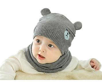 Tukistore Niños Invierno Sombrero Invierno Bufanda Invierno Otoño Cálido  Sombrero de Punto Gorro de Lana con 821398bdd17