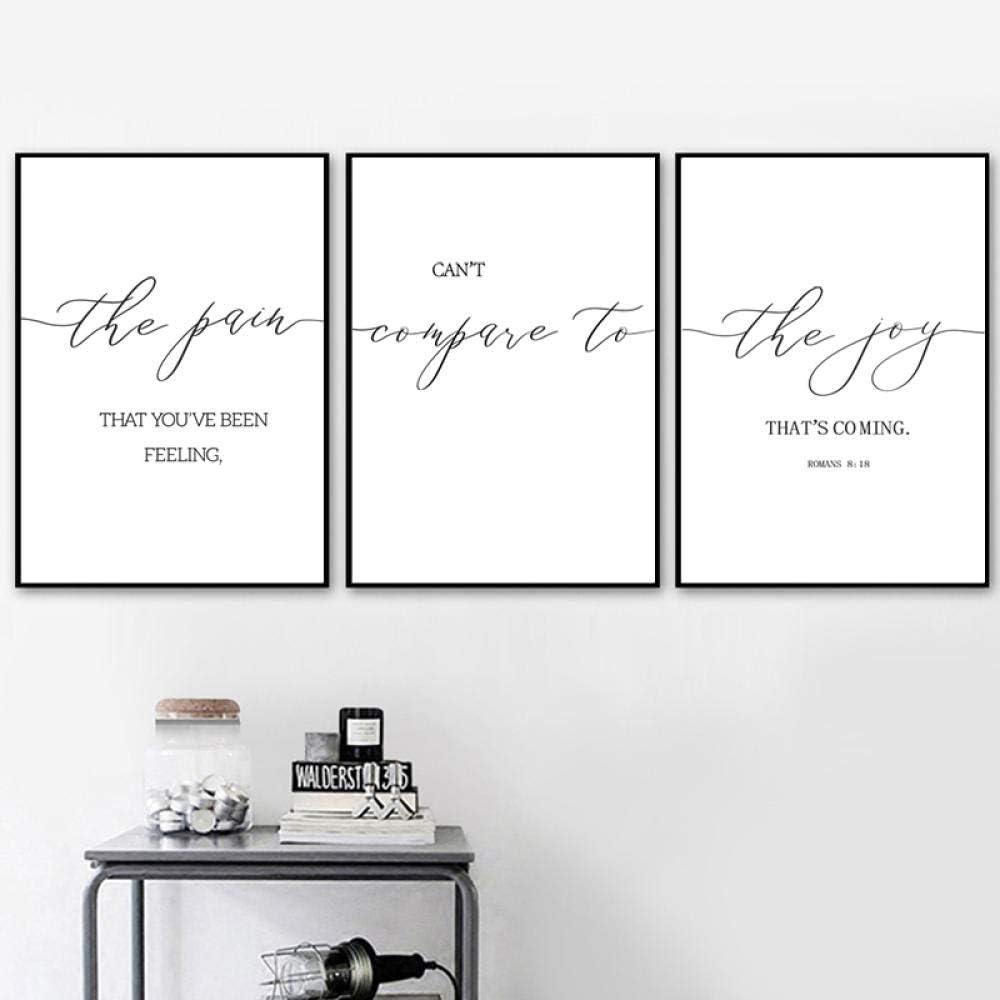 Romanos 8:18 Versículo de la Biblia Cita Impresión Cartel de las Escrituras Arte de la pared cristiano Pintura en lienzo Cuadros de pared en blanco y negro Decoración del hogar 40x60cmx3 Sin marco