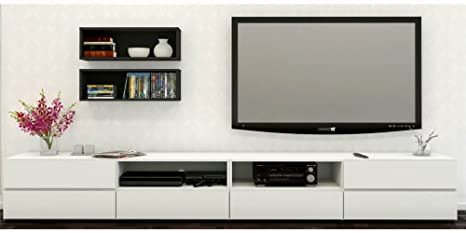 Amazon Com Modern Tv Stand In White And Black Kitchen Dining