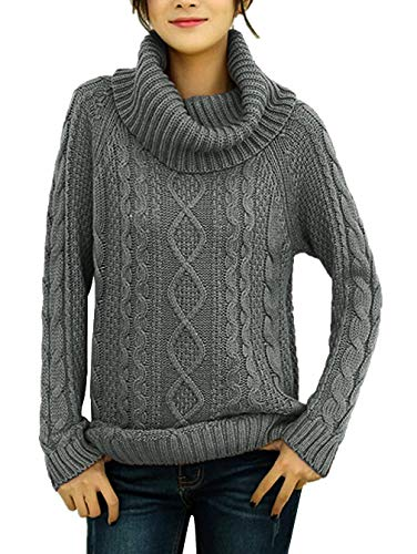 v28 Women's Korean Design Turtle Cowl Neck Ribbed Cable Knit Long Sweater Jumper (Grey,2XL)