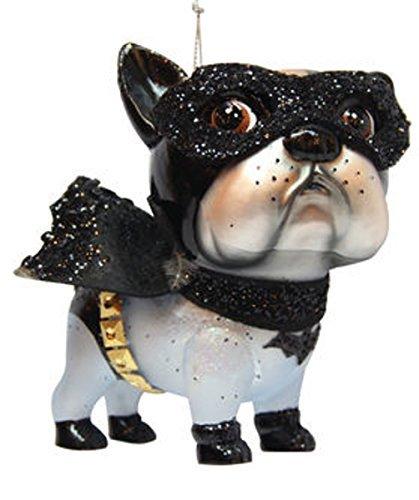 December Diamonds Blown Glass Superhero Bat Dog Bulldog Hanging Ornament