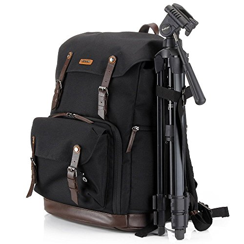 Camera bag backpack laptop dslr insert accessories (waterproof nylon with leather belt) tripod strap gadget bag for sony/canon EOS rebel/nikon/video cameras/lens by NEPPT
