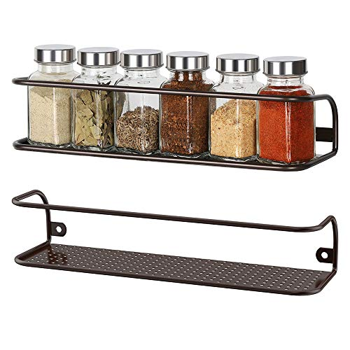 NEX Spice Racks Wall Mounted Spice Storage Brown- 2 Pack