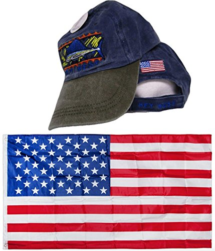 Key West Blue Marlin Denim Washed style Embroidered Hat Cap & USA Flag 3x5 Super Polyester Nylon 3'x5' Banner Grommets Double Stitched Premium Quality
