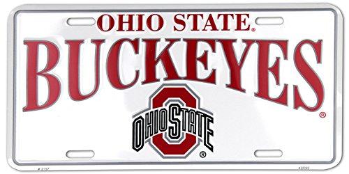 (Ohio State Buckeyes White Metal License)