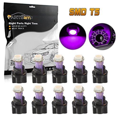 Partsam 10PCS Purple PC74 73 Instrument Panel LED Light Gauge Cluster Dashboard Lamp Bulbs with Twist Socket (1993 Jeep Grand Cherokee Speedometer Not Working)