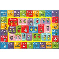 Playtime Collection ABC Alphabet ASL Sign Language Educational Learning Area Rug Carpet for Kids and Children Bedrooms and Playroom