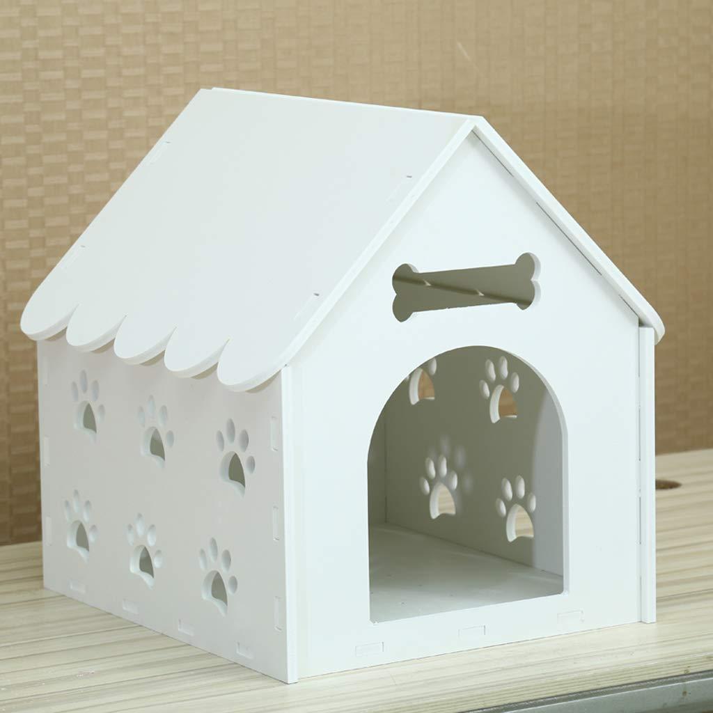 B Pet nest kennel cat litter dog house indoor winter warm dog house outdoor pet nest Teddy Bomei small kennel villa with door white47  40  47cm
