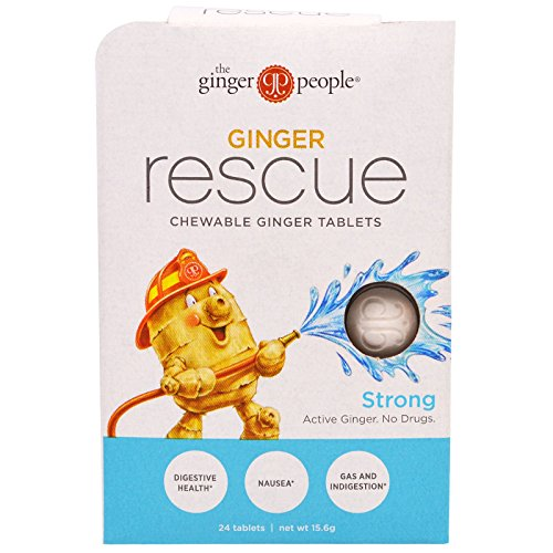 The Ginger People, Ginger Rescue, Chewable Ginger Tablets, Strong, 24 Tablets (15.6 g) - 2PC (Ginger Tablets)