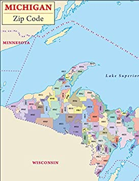 Amazon Com Michigan Zip Code Map Laminated 36 W X 46 68 H Office Products