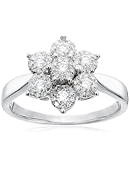 14k White Gold Cluster Flower Diamond Ring (3/8cttw, H-I Color, I2 Clarity), Size 7