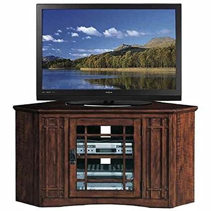 Amazoncom Mission Oak 46 Inch Corner Tv Stand Media Console Wood