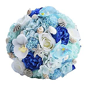 Romantic Wedding Bouquets for Brides,Beach Shell Blue Artificial Wedding Flowers Brooch Bridal Bouquets,Handmade Holding Flower Bouquet, Girls Bridesmaid for,Ceremony,Event, Party Props Decor Supplies 55