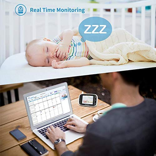 2020 Upgraded Baby Monitor,HelloBaby Remote Pan-Tilt-Zoom Baby Monitor with Camera and Audio,Night Version & Temperature Sensor, 2 Way Audio