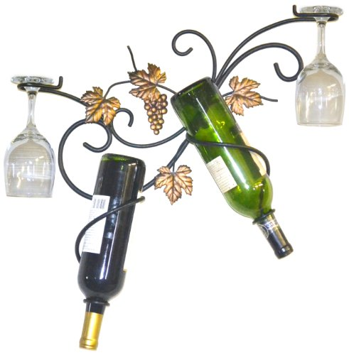 Wrought Wine Rack Leaf Iron - J&J Wire 2-Bottle Wall Glass Holder