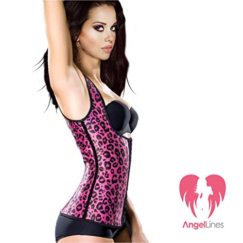 Angel Lines Waist Trainer - Black & Pink Animal Print Design for workouts - M (Animal That Starts With M)