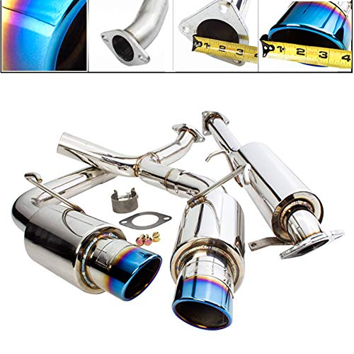 Fit 2000-2009 Honda S2000 2.5 Inch Stainless Steel Catback Exhaust System 3.5 Inch Muffler Burned Tip ()