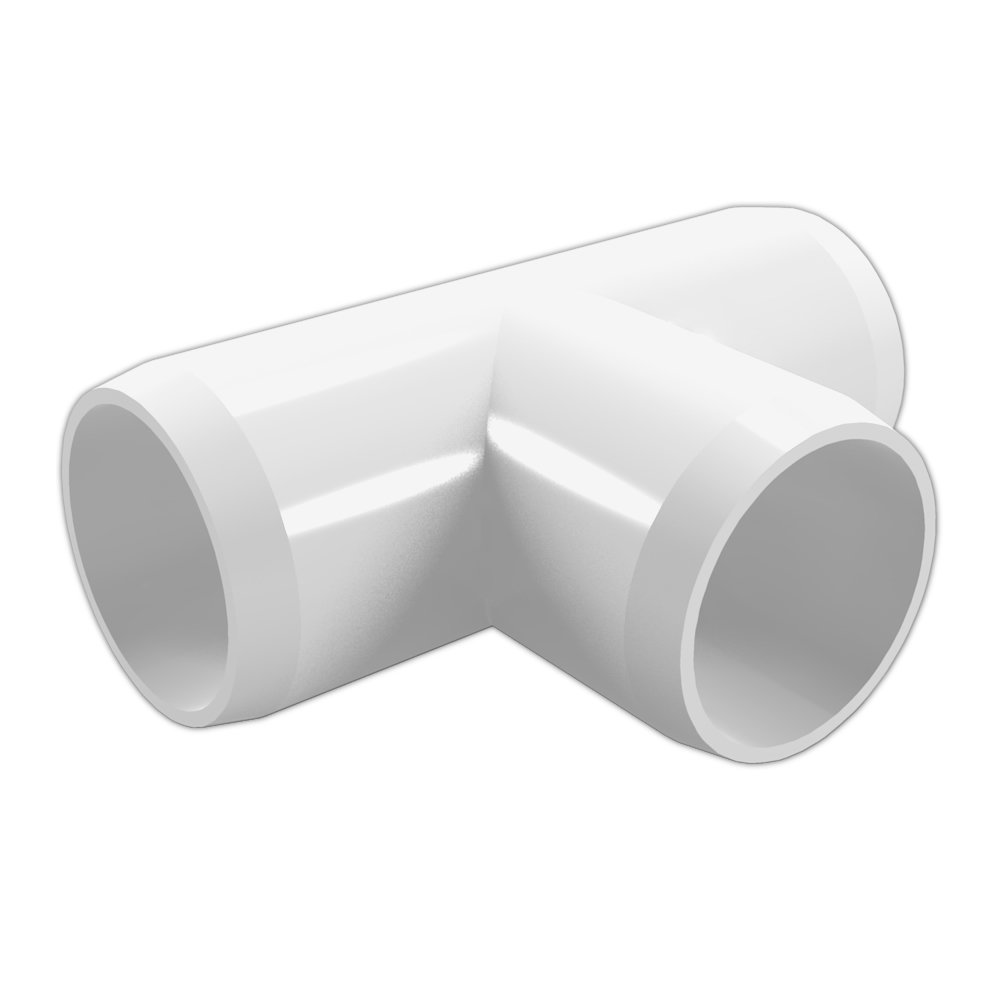FORMUFIT F112TEE-WH-4 Tee PVC Fitting, Furniture Grade, 1-1/2'' Size, White (Pack of 4)