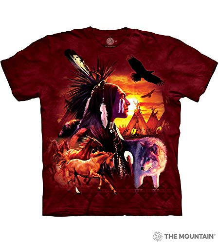 Indian Horse T-shirt - The Mountain, Indian Collage Wolf Horse Eagle T-shirt, Red, Adult Medium