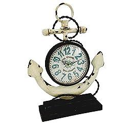 ES ESSENTIALS ESE Nautical Metal Anchor Tabletop Clock, Beach House Decoration, White