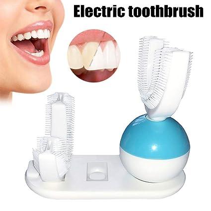 Wildlead - Juego de cepillos de dientes eléctricos inalámbricos, manos libres, USB, recargable