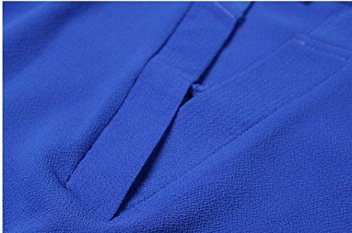 Evedaily Tunique Femme Blouse Marine V Col Bleu Hauts Chemisier Manches Slim Elgant Longues Tops r0qdfw0