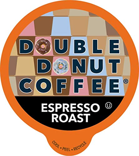 Double Donut Unflavored Coffee, Recyclable Single Serve Cups for Keurig K Cup Brewer, 80 Count (Espresso Roast)