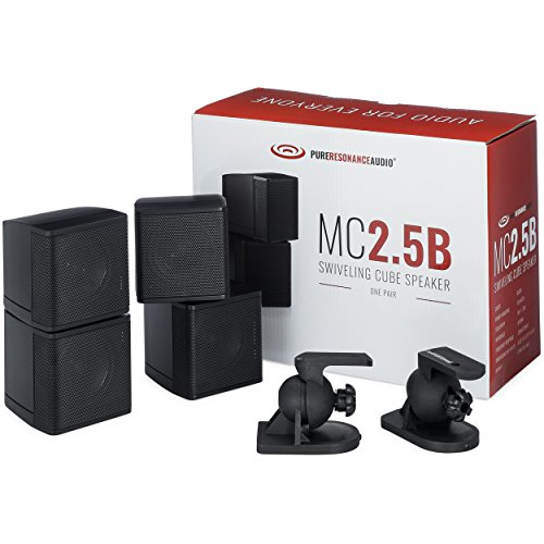 "Pure Resonance Audio MC2.5B - Mini Cube Speaker Dual 2.5"" Swivel Surround Sound (Pair"