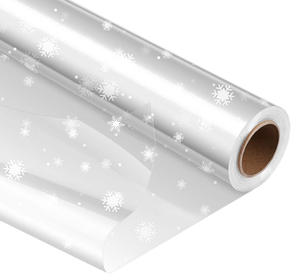 STOBOK Christmas Cellophane Wrap Roll | Unfolded Width 32 inch x 100 Ft,Snowflake Pattern Paper Wrapper,3 Mil Thicken Long Film Gift Wrappings for Flowers,Bouquet,Basket,Packing Paper