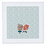 3dRose Uta Naumann Watercolor Illustration Animal - Bunny Children Illustration and Typography Blue Flower Pattern-Lovely - 22x22 inch quilt square (qs_267037_9)