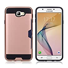 J7 Prime Case, Galaxy On7 2016 Case, MCUK [Brushed Metal Texture] Hybrid Defender Shockproof Rubber Bumper Case Hard Cover Skin with Card Slot for Samsung Galaxy J7 Prime / On7 2016 (Rose Gold)