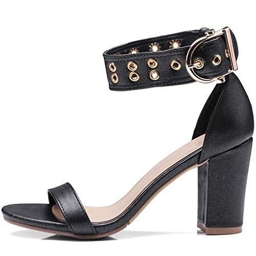 Sandali Caviglia Fibbia Donna Nero con 2 Vestito alla TAOFFEN EwxTnqPP