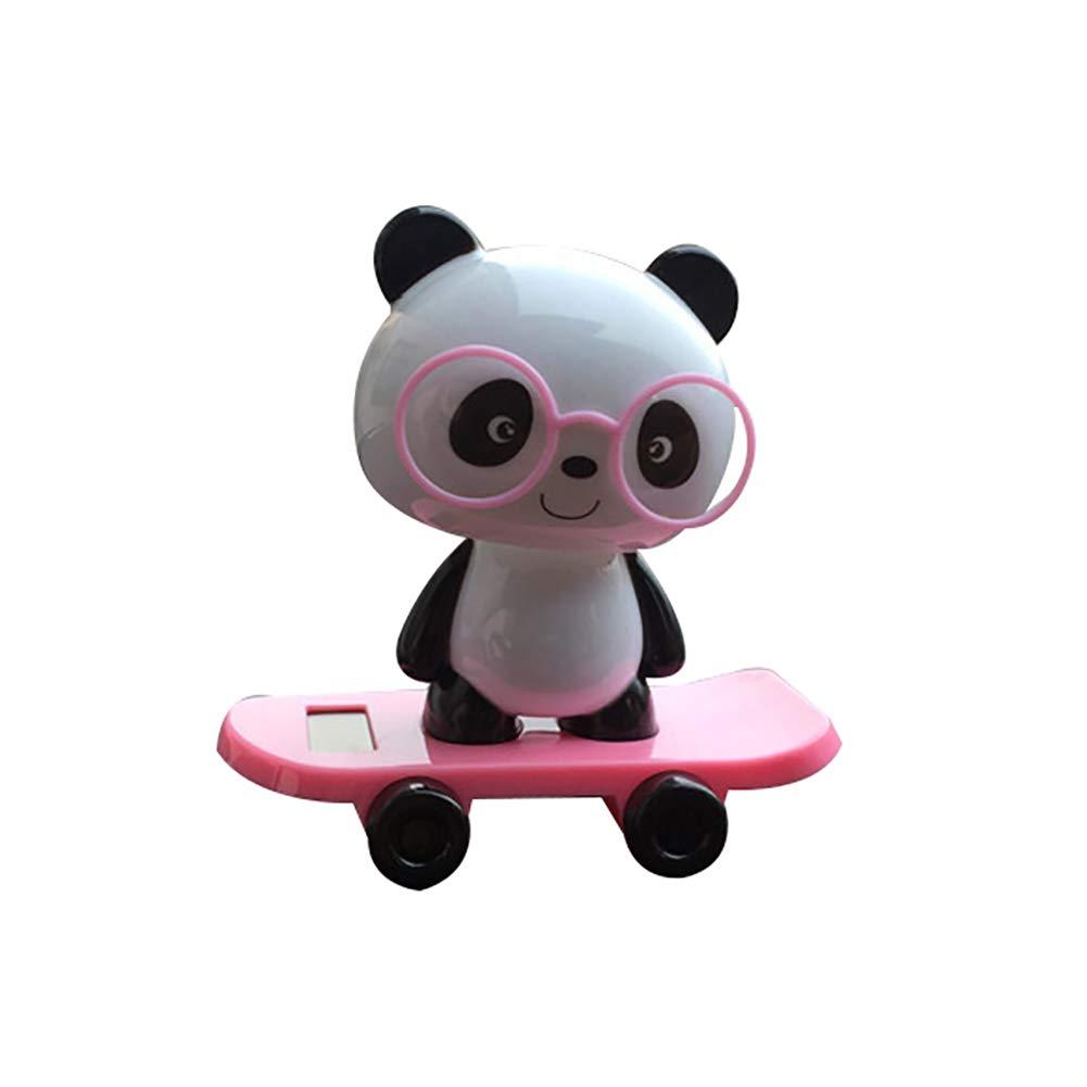 VelvxKl Cute Solar Powered Bobble Skateboard Panda Toy Auto Car Ornament Home Decoration Car Accessories Pink