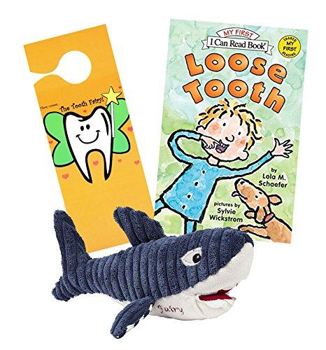 Maison Chic Shark Tooth Fairy Pillow Stuffed Animal Plush and Loose Tooth Book w/ Door Hanger Set ()