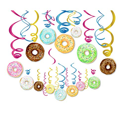 Dangler Hanging Decorations - CC HOME 30Ct Donut Party Decoration ,Donut Hanging Swirl Decoration Kit - Dizzy Danglers Donut Party -Donut Party Supplies- Donut Party Hanging Decorations for Donut Time ,New Year,Wedding ,Baby Shower ,Birthday Party Decoration