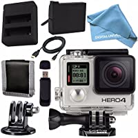 GoPro HERO4 Silver + Rechargeable Battery + Dual Battery Charger + Case for GoPro HERO4 and GoPro Accessories + Tripod Adapter