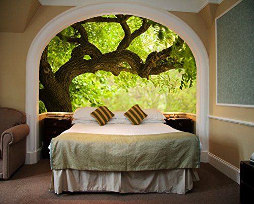 Startonight Mural Wall Art Photo Decor Tree on the Green Landscape Medium 4-feet 2-inch By 6-feet Wall Mural for Living Room or (Famous Couples Halloween)