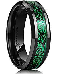DRAGON 5mm Green Carbon Fiber Black Celtic Dragon Tungsten Carbide Ring Comfort Fit Wedding Band